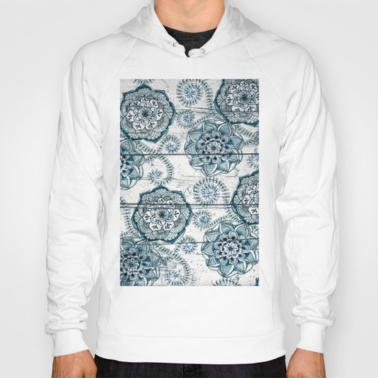Navy Blue Floral Doodles on Wood Hoody
