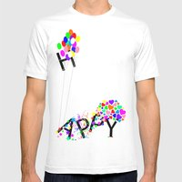 Just Happy Mens Fitted Tee White SMALL