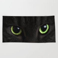 Green Cat Eyes Beach Towel
