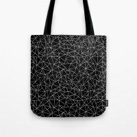 Shattered White On Black Tote Bag