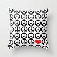 PEACE PEACE ANDLOVE Throw Pillow