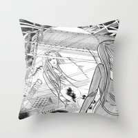 Midnight Blossom / Origi… Throw Pillow