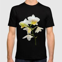 Beautiful white orchid flowers. floral photo art. Mens Fitted Tee Black SMALL