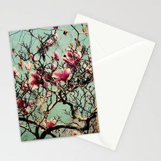 Pink Japanese Magnolia Tree in Flower Stationery Cards