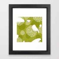 Pom Poms & Birds in Green by Friztin Framed Art Print