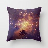 Palm Tree Fireworks Throw Pillow