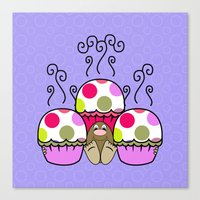 Cute Monster With Pink A… Canvas Print
