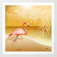 FLAMINGO BEACH | Gold Art Print