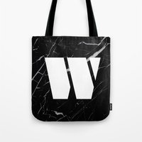Black Marble - Alphabet W Tote Bag