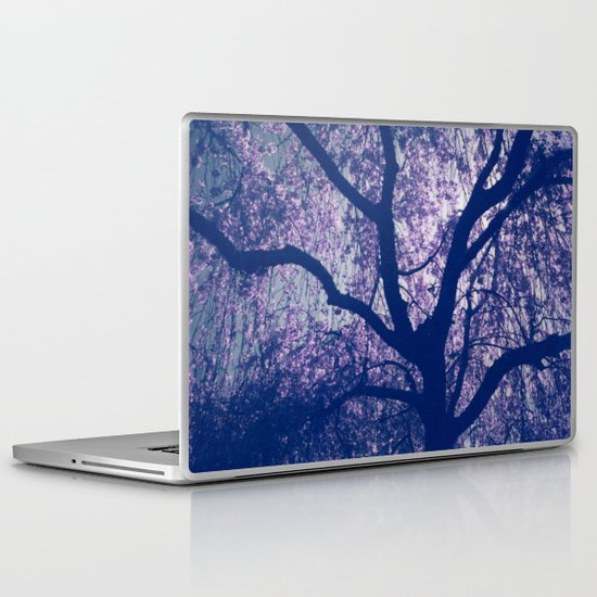 Cherry Blossom Blue Laptop & iPad Skin