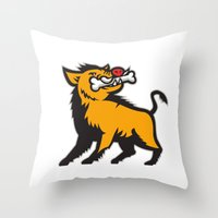 Wild Boar Razorback Bone In Mouth Prancing  Retro Throw Pillow