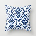 Ikat Damask Navy Throw Pillow