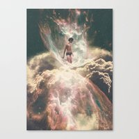 The Girl Who Swims In Clouds Canvas Print