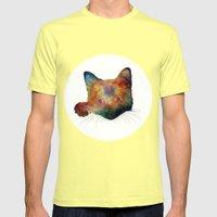 Nebula Cat Mens Fitted Tee Lemon SMALL