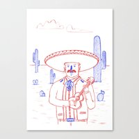Mariachi In The Desert Canvas Print