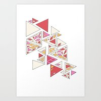 Geometric mosaic triangle pattern - red and pink Art Print