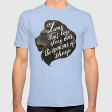 Lions don't lose sleep over the opinions of sheep Mens Fitted Tee Tri-Blue SMALL