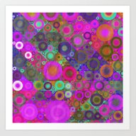 Quilted Circles Pattern Art Print