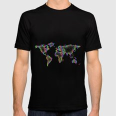 Rainbow World map SMALL Mens Fitted Tee Black