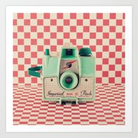 Mint Retro Camera On Red… Art Print