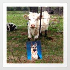Happy-D & Cow Art Print