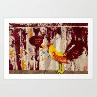 The Rooster Still Bites Art Print