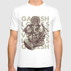Ganesh White Mens Fitted Tee SMALL