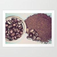 Coffee Beans and Coffee Ground Art Print