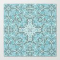 Soft Teal Blue & Grey hand drawn floral pattern Canvas Print