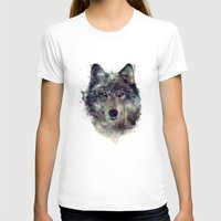 face T-shirts featuring Wolf // Persevere  by Amy Hamilton