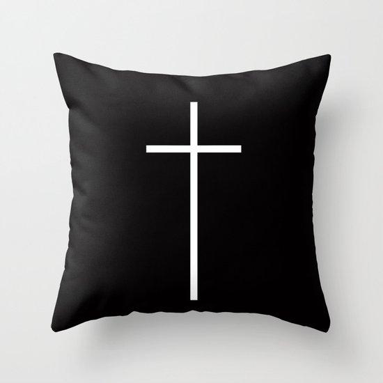 Christian Cross Black Throw Pillow