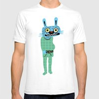 HIPSTER BUNNY Mens Fitted Tee White SMALL