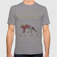 Watercolor Native Fox Mens Fitted Tee Athletic Grey SMALL