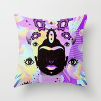 Holographic Girl Throw Pillow