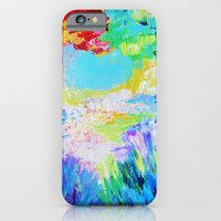 iPhone & iPod Case featuring IN DREAMS - Gorgeous Bold Colors, Abstract Acrylic Idyllic Forest Landscape Secret Garden Painting by EbiEmporium