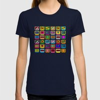 8-bit Game Cartridges Womens Fitted Tee Navy SMALL