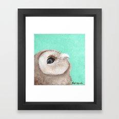 Original Owl Painting Print Aqua Blue Owl Art Owl print Cute Owl art One of a kind Unique Framed Art Print