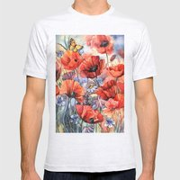 Watercolor Poppies Mens Fitted Tee Ash Grey SMALL
