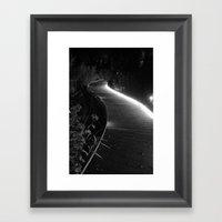 Night walkway in black and white  Framed Art Print