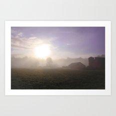 Foggy Farm  Art Print