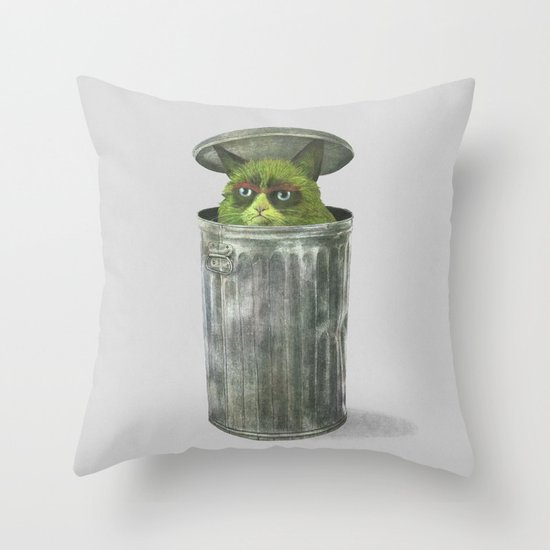 Grouchy Cat  Throw Pillow