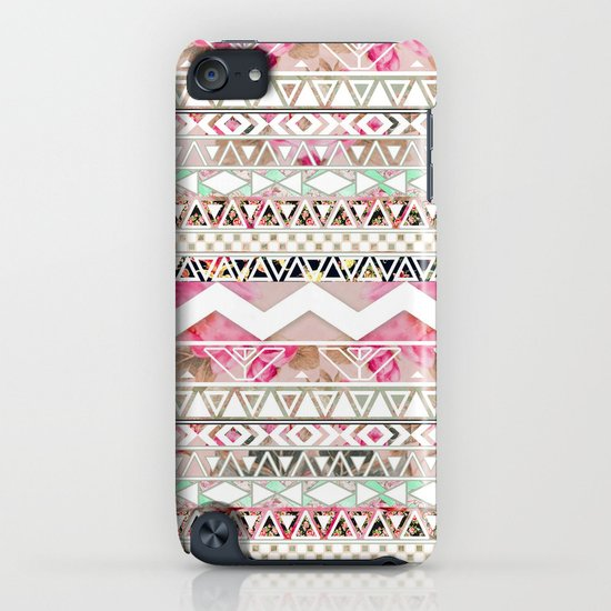 Aztec Spring Time! | Girly Pink White Floral Abstract Aztec Pattern iPhone & iPod Case