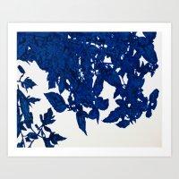 Royal Blue Leaves Art Print