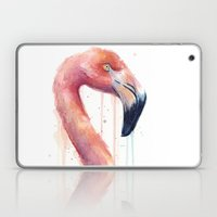 Watercolor Pink Flamingo Illustration | Facing Right Laptop & iPad Skin