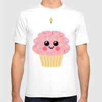 Happy Pixel Cupcake Mens Fitted Tee White SMALL