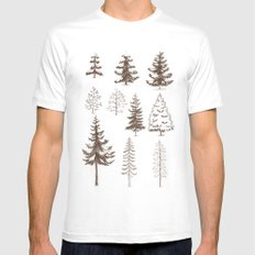 Pines and Spruces White SMALL Mens Fitted Tee