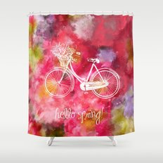 Hello Spring  Shower Curtain