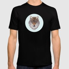 Grey wolf portrait Black Mens Fitted Tee SMALL