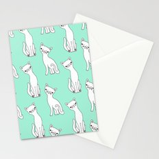 Mint and white retro cats Stationery Cards