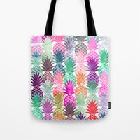 Bright exotic pineapples pastel watercolor pattern Tote Bag